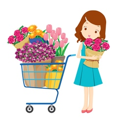 Girl and shopping cart full of flowers vector