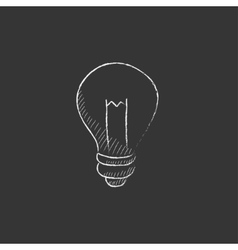 Lightbulb Drawn in chalk icon vector image