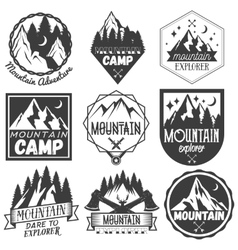 Set of mountain camp labels in vintage vector