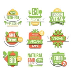 Healthy vegan organic food promo sign set vector