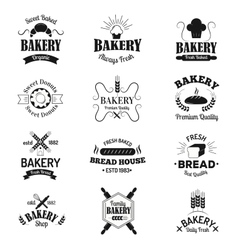 Bakery badges and logo icons thin modern style vector