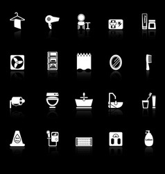 Bathroom icons with reflect on black background vector image
