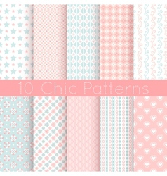 Chic different seamless patterns Pink white and vector image vector image