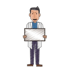 Color pencil full body caricature doctor male with vector