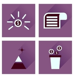 Concept of flat icons with long shadow economy vector