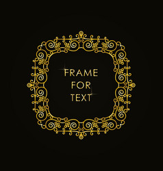 Elegant golden frame in trendy outline style vector