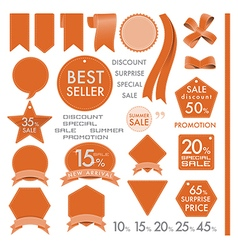 Element orange leather labels on summer set vector
