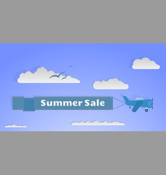 Flying plane with banner copy vector image