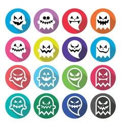 Halloween scary ghost spirit flat design icons vector image vector image