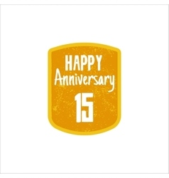 Happy 15th anniversary badge sign and emblem in vector