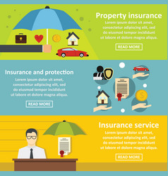 Insurance banner horizontal set flat style vector