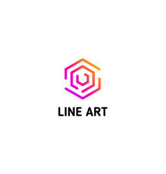 isolated line art logo template abstract linear vector image vector image