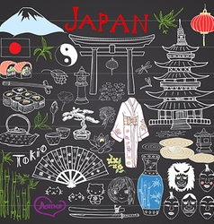 Japan doodles elements Hand drawn sketch set with vector image