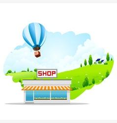 Landscape with Shop Building vector image vector image