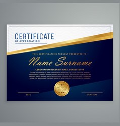 Luxury modern certificate template in blue and vector