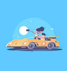make selfie from car vector image
