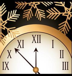 new year gold shining clock snowflake vector image