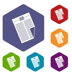 Newspaper with the headline job icons set vector