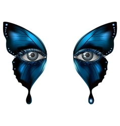 Photorealistic eye artistic butterfly makeup vector