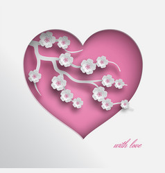 Pink paper cut heart decorated branch of cherry vector