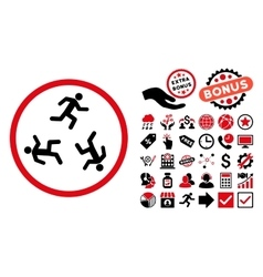 Running Men Flat Icon with Bonus vector image