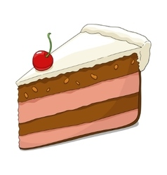 Slice of cake with cherry vector image vector image