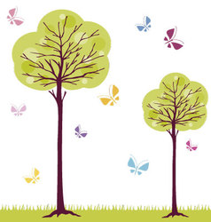Trees and butterflies vector