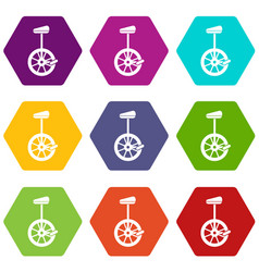Unicycle icon set color hexahedron vector