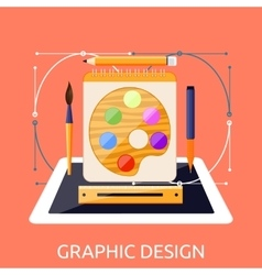 Web Design Graphic Tablet and Tool vector image vector image