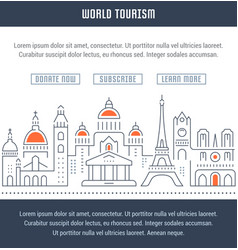 website banner and landing page world tourism vector image vector image