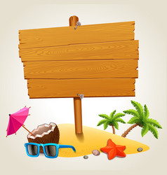 wood sign in the beach icon vector image vector image