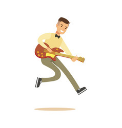 Young musician playing classic guitar vector