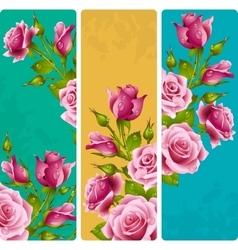 Pink rose frames set vector image
