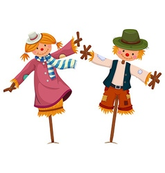 Two scarecrows look like girl and boy vector