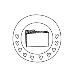 Silhouette circular border with hearts and office vector