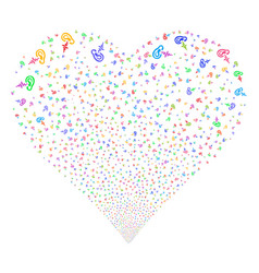hearing fireworks heart vector image