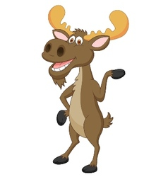 Moose cartoon waving vector