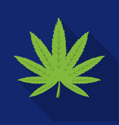 Marijuana leaf icon in flat style isolated on vector
