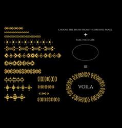 Decorative pattern brushes divider vector