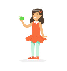 Cute smiling girl in red dress eating green apple vector