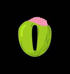 Number 0 zombie monster font zero bones and vector