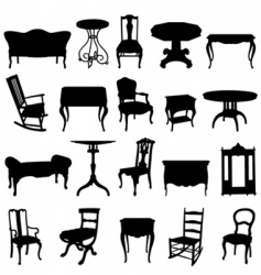 antique furniture's set vector image