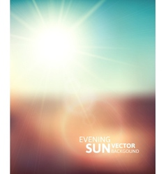 Blurry evening scene with brown field sun burst vector image