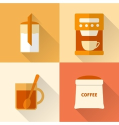 Flat coffee icons set vector