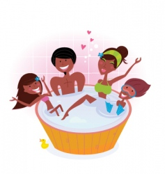 Dark skin family in whirlpool vector