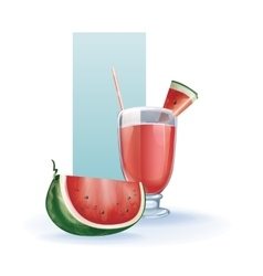 Watermelon in goblet of juice cocktail smoothie vector