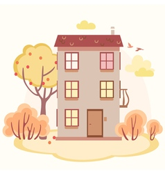 Autumn cartoon story house with trees vector