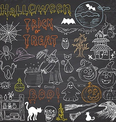 Sketch of halloween design elements with punpkin vector