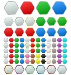 Color metallic rounded hexagon button set vector