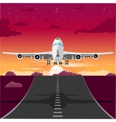 Airplane taking off from the runway in the evening vector